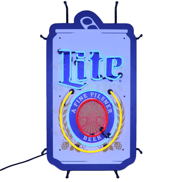 Miller Lite Beer Can with Backing Wall Light by Neonetics