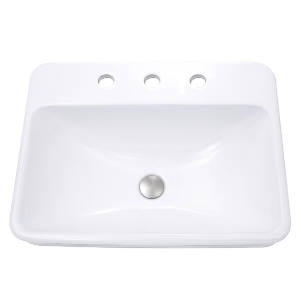 Vitreous China Rectangular Drop-In Bathroom Sink with Overflow by Nantucket Sinks