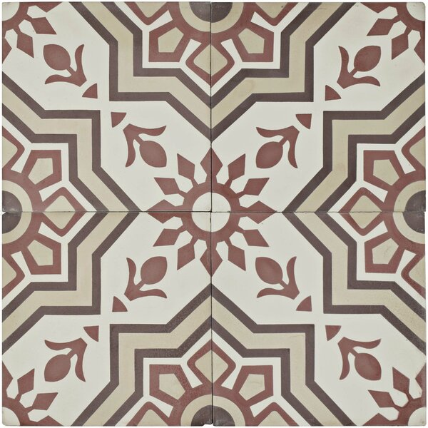 Ciment 7.88 x 7.88 Cement Field Tile in Red/Gray by EliteTile