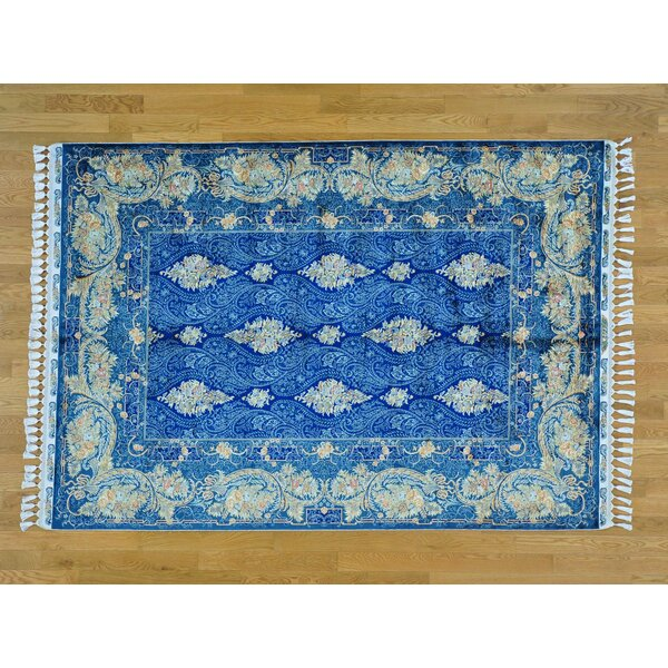 One-of-a-Kind Benally Hand-Knotted Blue Silk Area Rug by Isabelline