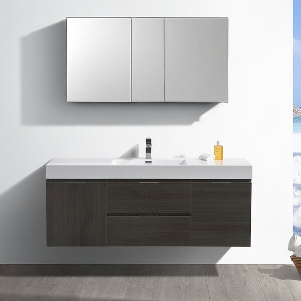 Senza Valencia 60 Wall Mounted Single Bathroom Vanity Set by Fresca