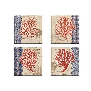 Burlap Coral I by Paul Brent 4 Piece Graphic Art on Wrapped Canvas Set by Portfolio Canvas Decor