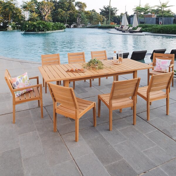 Nina 9 Piece Teak Dining Set by Rosecliff Heights