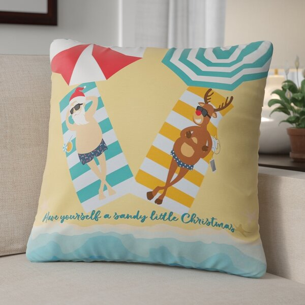 Beach Santa & Reindeer Christmas Throw Pillow by The Holiday Aisle