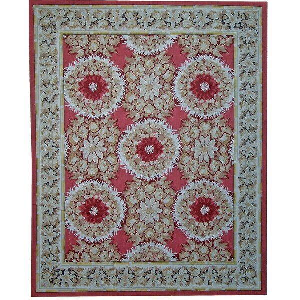 Aubusson Hand-Woven Wool Red/Blue/Green Area Rug by Pasargad