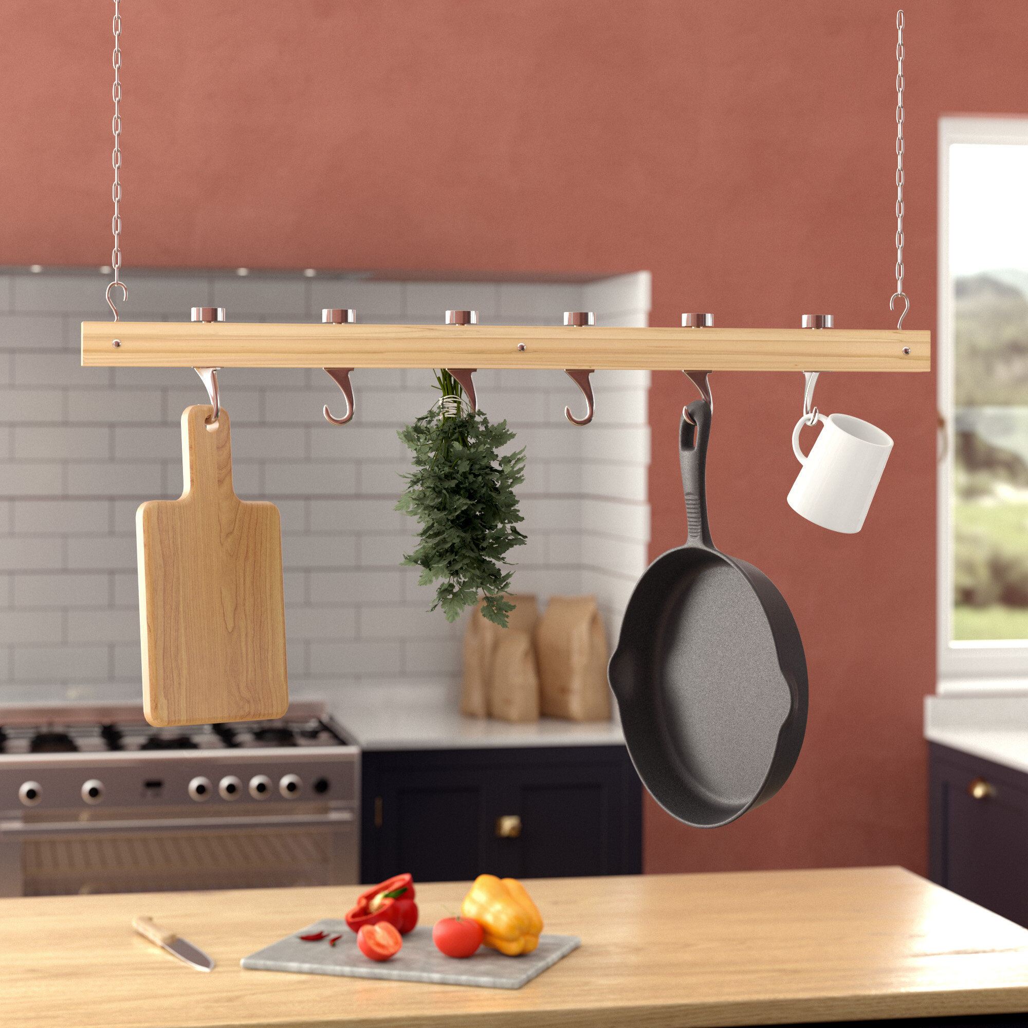 Ceiling Mounted Wooden Hanging Pot Rack