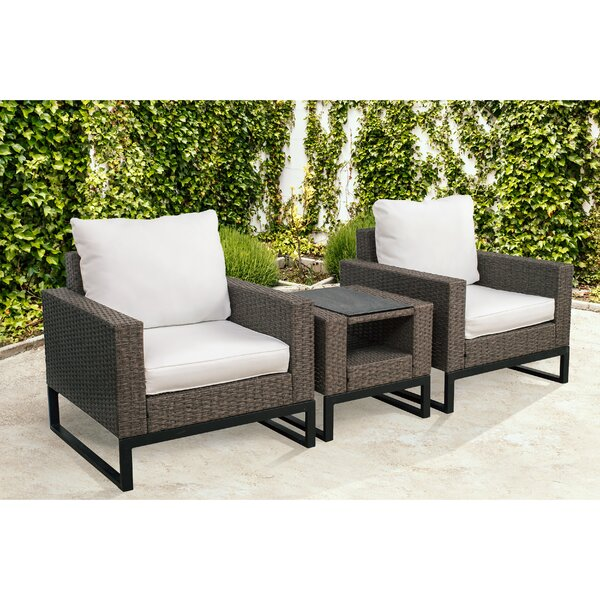 Bawden 3 Piece Rattan Conversation Set with Cushions by Gracie Oaks