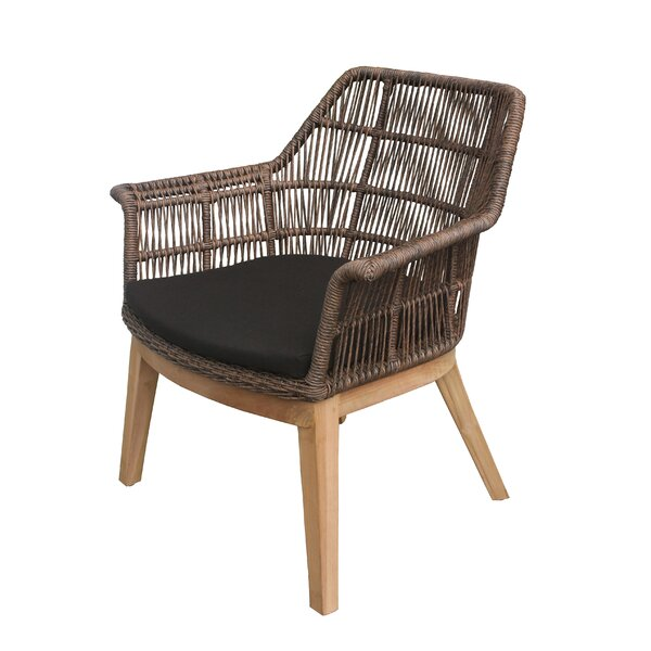 Marley Teak Patio Chair with Cushion by Bungalow Rose Bungalow Rose