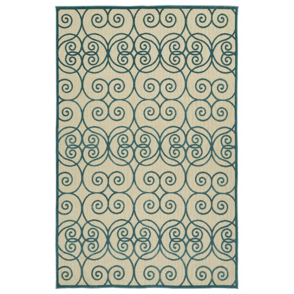 Covedale Machine Woven Blue/Cream Indoor/Outdoor Area Rug by Charlton Home