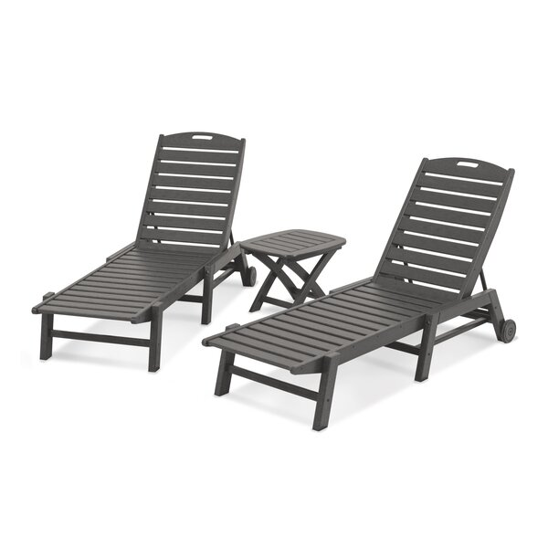 Nautical 3-Piece Reclining Chaise Lounge Set by POLYWOOD POLYWOOD®