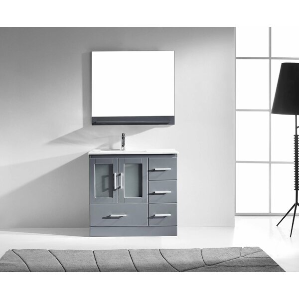 Cartagena 36 Single Bathroom Vanity Set with White Top and Mirror by Mercury Row