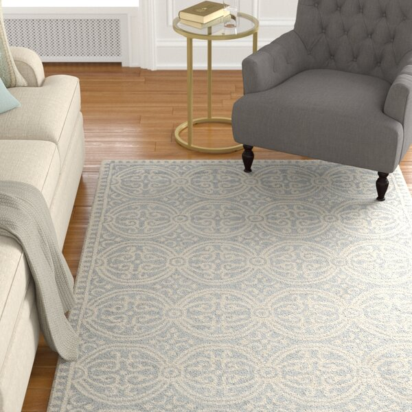 Landen Hand-Tufted Silver/Ivory Area Rug by Alcott Hill