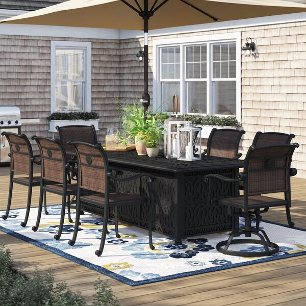 Harland 9 Piece Dining Set with Firepit
