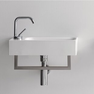 Affordable Cento Ceramic 18 Wall Mount Bathroom Sink with Overflow ByWS Bath Collections