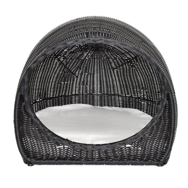 Hoehne Wicker Igloo Hooded Bed with Cushion by Tucker Murphy Pet