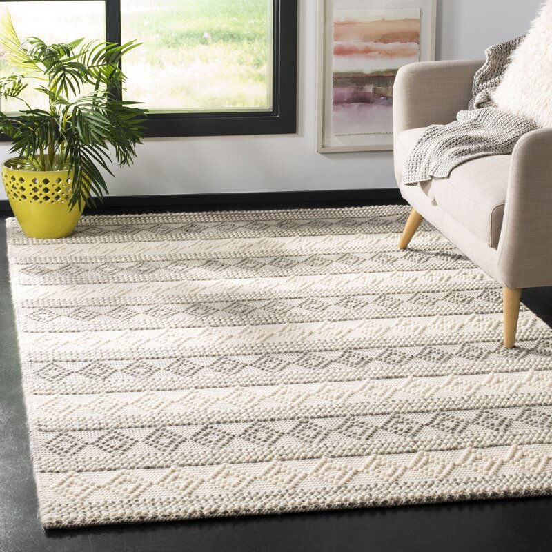 Gracie Oaks Diara Geometric Handmade Flatweave Wool Cotton Gray Ivory Area Rug Reviews Wayfair