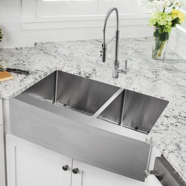 33 L x 20.75 W Apron Front Double Bowl Undermount Kitchen Sink with Faucet by Soleil