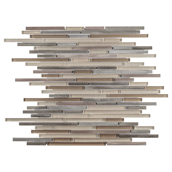 Commix Brushed Random Sized Aluminum/Glass Mosaic Tile in Beige/Brown by EliteTile