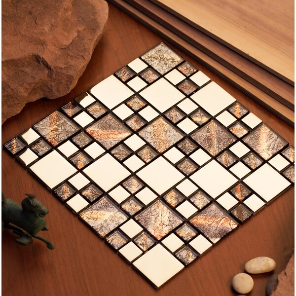 Rousha 12 x 12 Glass Mosaic Tile in Purple/Silver by Mirrella