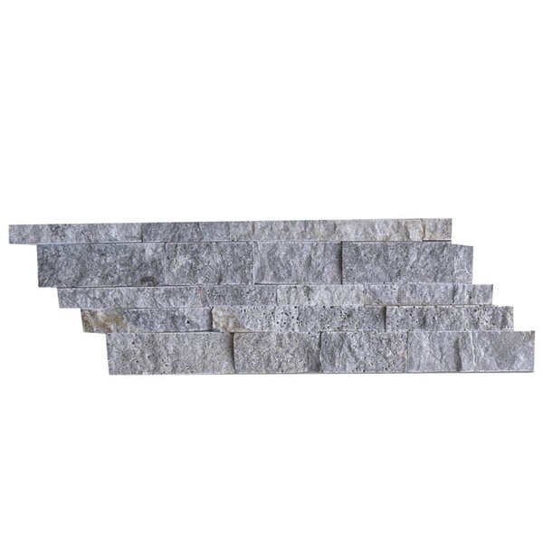 Natural Stone Mosaic Splitface Tile in Silver by QDI Surfaces