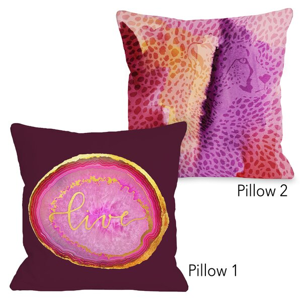 Ximena Live Geode and Cheetah Face 2 Piece Throw Pillow Set by Ebern Designs