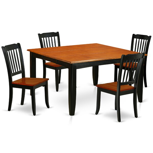 Lamberton 5 Piece Extendable Solid Wood Dining Set by August Grove