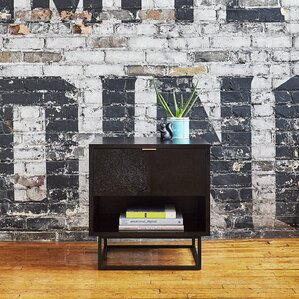 Gus* Modern Myles End Table Black Oak