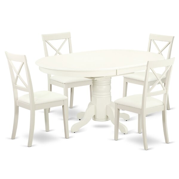 Emmaline 5 Piece Solid Wood Dining Set by Alcott Hill Alcott Hill