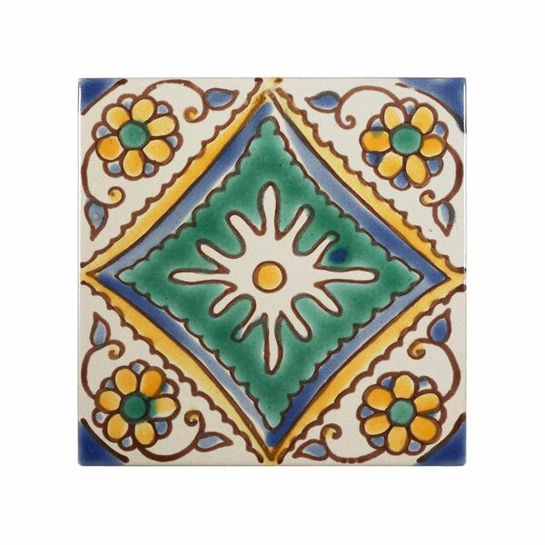 Mediterranean 4 x 4 Ceramic Palma Decorative Tile in Green by Casablanca Market