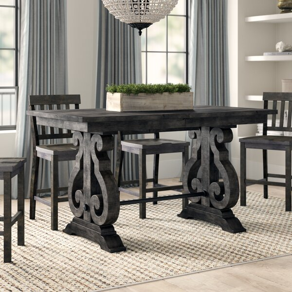 Ellenton Counter Height Extendable Solid Wood Dining Table by Greyleigh