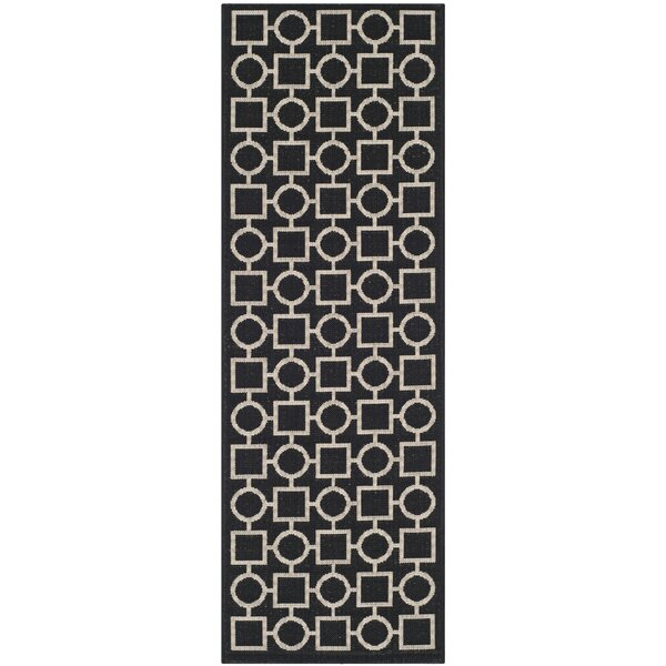 Jefferson Place Black / Beige Outdoor Rug by Wrought Studio