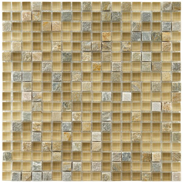 Sierra 0.58 x 0.58 Glass and Natural Stone Mosaic Tile in Beige/Gray by EliteTile
