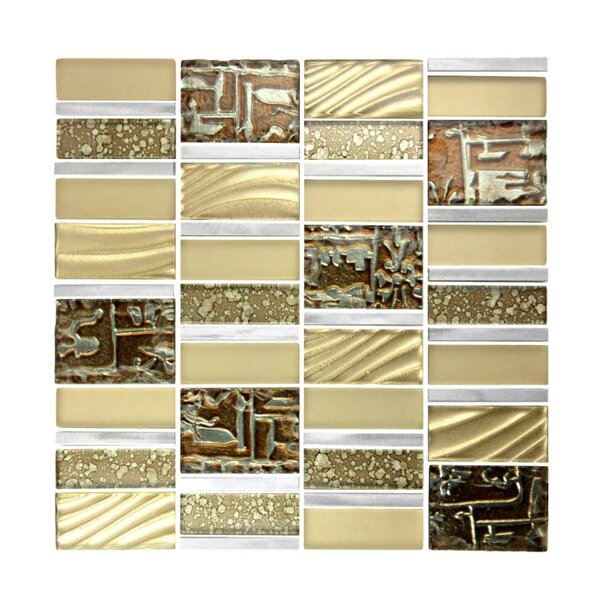 Imperial Random Sized Glass and Aluminum Mosaic Tile in Brushed Gold by Abolos