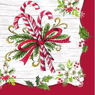 Candy Cane Paper Cocktail 5 Napkin (Set of 20) by The Holiday Aisle