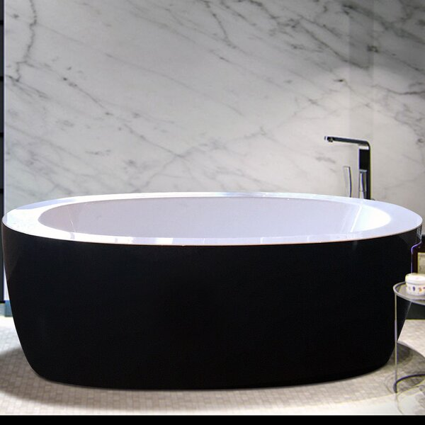 Purescape 68.75 x 32.75 Freestanding Whirlpool Bathtub by Aquatica
