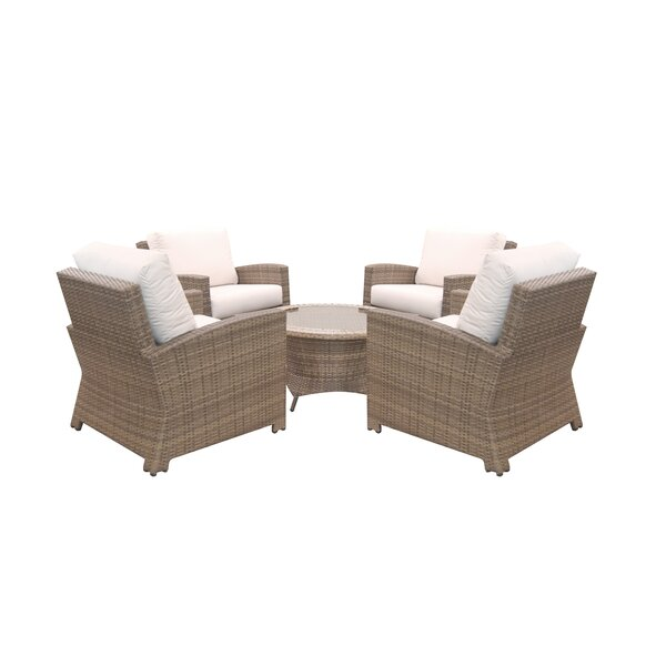 Norfolk 5 Piece Sunbrella Multiple Chair Seating Group with Cushions by Rosecliff Heights