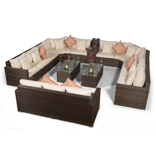 Villasenor Brown Rattan 10 Seat Sofa With 2 X Rectangle Coff