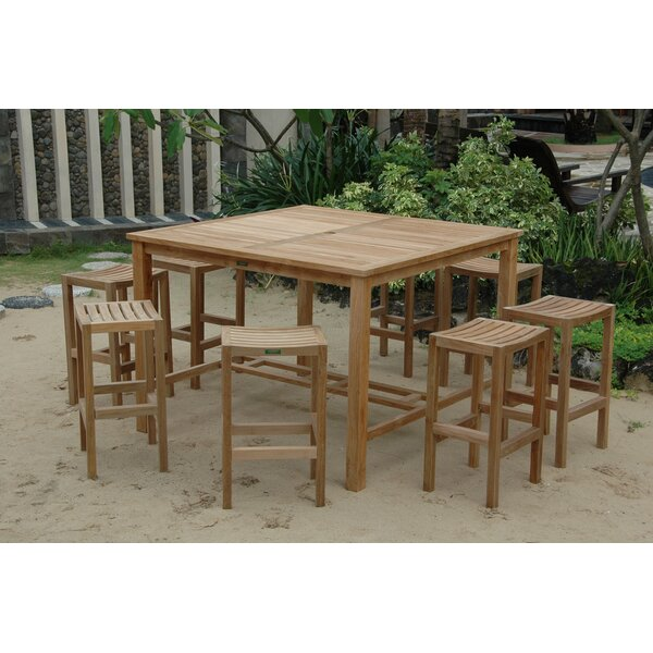Bourassa 9 Piece Teak Bar Height Dining Set