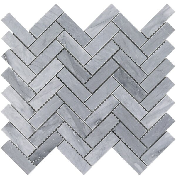 Stowe Herringbone 1 x 3 Marble Mosaic Tile in Gray by Splashback Tile