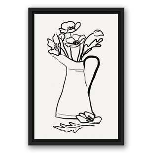 Vase Full Of Poppies Framed Drawing Print On Canvas