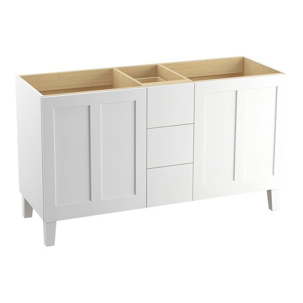 Poplin 60 Vanity with Furniture Legs, 2 Doors and 3 Drawers, Split Top Drawer by Kohler