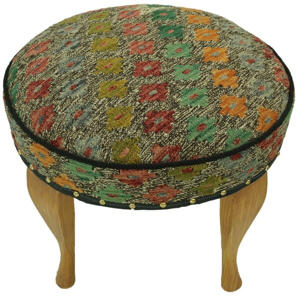 StrandquistKilim Upholstered Handmade Ottoman by Bloomsbury Market