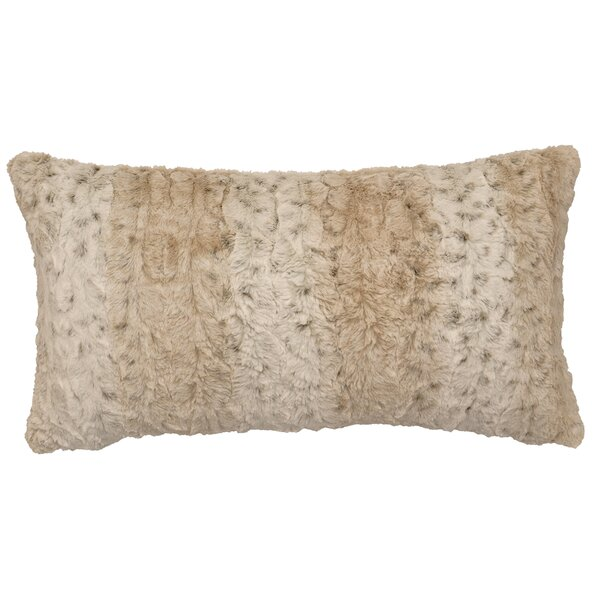 Pearl Leopard Cuddle Fur Lumbar Pillow by Wooded River