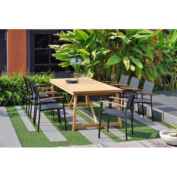 Towles 9 Piece Teak Dining Set (Set of 9) by Wrought Studio