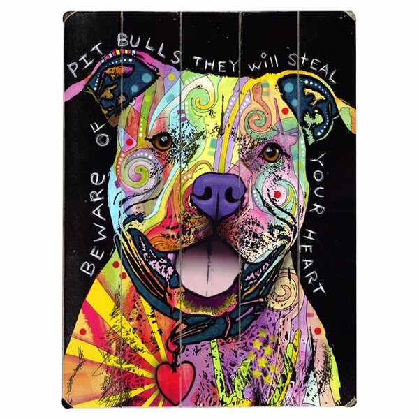 Smiling Pitbull Graphic Art Print Multi-Piece Image on Wood by Artehouse LLC