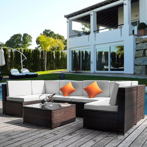 Aneeya Patio 7 Piece Rattan Sectional Seating Group with Cushion by Latitude Run