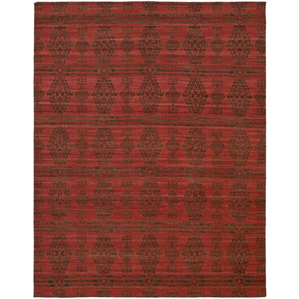 Libbey Handmade Charcoal/Red Area Rug by The Conestoga Trading Co.