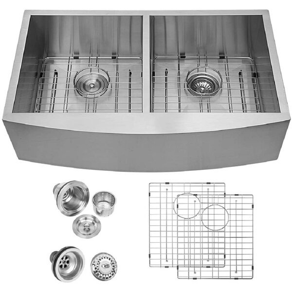 33 L x 20 W Double Basin Farmhouse/Apron Kitchen Sink