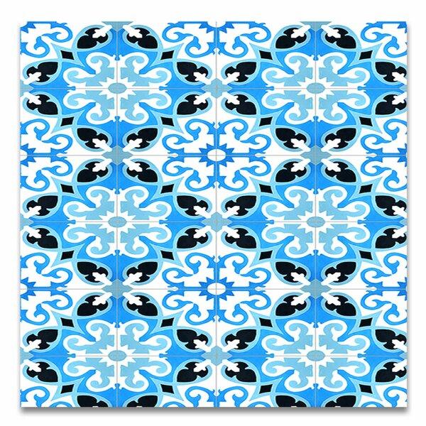 Agadir 8 X 8 Handmade Cement Tile in Blue/White by Moroccan Mosaic