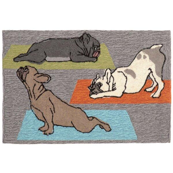 Seavey Yoga Dogs Grey Indoor/Outdoor Area Rug by Wrought Studio